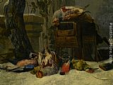 Peeter Boel Still Life with Dead Game and Songbirds in the Snow painting