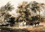 Peter de Wint Horses Drinking At A Pool painting