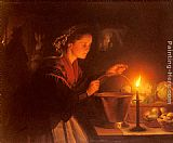 Petrus Van Schendel A Market Scene By Candlelight painting