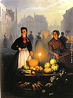 Petrus Van Schendel A Market Stall by Moonlight painting
