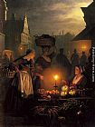 Petrus Van Schendel The Night Market painting