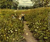 gathering summer flowers in a devonshire garden Paintings - Gathering Wild Flowers