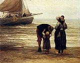 Philippe Lodowyck Jacob Sadee A Fisherman's Goodbye painting