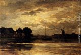 Philippe Lodowyck Jacob Sadee View Of The Spaarne, Haarlem, By Moonlight painting