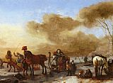Philips Wouwerman A Winter Landscape with Horse-Drawn Sleds painting