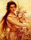 gathering summer flowers in a devonshire garden Canvas Prints - Young Beauty Gathering Flowers