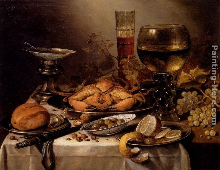 Pieter Claesz Banquet Still Life With A Crab On A Silver Platter, A Bunch Of Grapes, A Bowl Of Olives, And A Peeled Lemon All Resting On A Draped Table