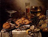 Pieter Claesz Banquet Still Life With A Crab On A Silver Platter, A Bunch Of Grapes, A Bowl Of Olives, And A Peeled Lemon All Resting On A Draped Table painting