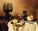 Pieter Claesz Breakfast Still Life With Roemer, Meat Pie, Lemon And Bread painting