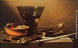 Pieter Claesz Still Life with Wine and Smoking Implements painting