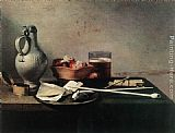 Pieter Claesz Tobacco Pipes and a Brazier painting