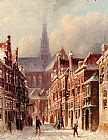 Pieter Gerard Vertin A Snowy Street With The St. Bavo Beyond, Haarlem painting