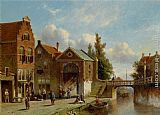 Pieter Gerard Vertin Figures in the Quay of a Dutch Town painting