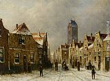 Pieter Gerard Vertin Figures in the streets of a snow covered dutch town painting
