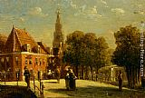 Pieter Gerard Vertin Figures on a bridge in Alkmaar painting