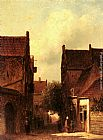 Pieter Gerard Vertin Street Scene With Figures, Possibly Rotterdam painting