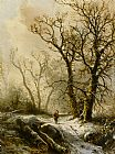 Pieter Lodewijk Francisco Kluyver A Figure in a Snowy Forest Landscape painting