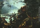 Pieter the Elder Bruegel Landscape with the Temptation of Saint Anthony painting