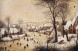 Pieter the Elder Bruegel Winter Landscape with Skaters and Bird Trap painting