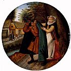Pieter the Younger Brueghel A Flemish Proverb 'A Wife Hiding Her Infidelity From Her Husband Under A Blue Cloak' painting