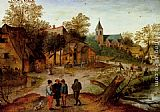 Pieter the Younger Brueghel A Village Landscape With Farmers painting