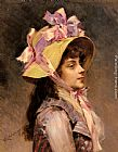 Raimundo de Madrazo y Garreta Portrait Of A Lady In Pink Ribbons painting