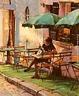 Raymond Leech Only A Rose At Cafe Rose painting