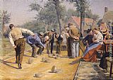 Remy Cogghe A Game of Bowls in the Village Square painting