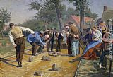 Remy Cogghe Playing Boules iin a Flemish Village painting