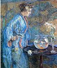 Robert Reid Girl in Blue Kimono painting