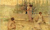 Robert Reid Three Figures in an Italian Garden painting