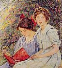 Robert Reid Two Girls Reading painting