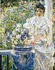 Robert Reid Woman on a Porch with Flowers painting