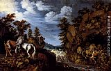 Roelandt Jacobsz Savery A Rocky Landscape With A Stallion, Bull And Camel Overlooking A Lion's Den painting
