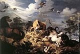 Roelandt Jacobsz Savery Horses and Oxen Attacked by Wolves painting
