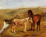 Rosa Bonheur A Horse And Donkey In A Hilly Landscape painting