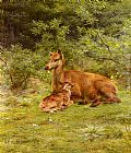 Rosa Bonheur Doe And Fawn In A Thicket painting