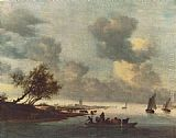 Salomon van Ruysdael A Ferry Boat near Arnheim painting
