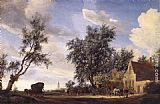 Salomon van Ruysdael Halt at an Inn painting