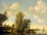 Salomon van Ruysdael River Scene with Ferry painting