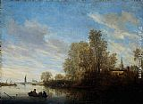 Salomon van Ruysdael River View near Deventer painting