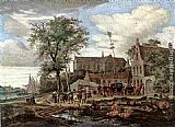 Salomon van Ruysdael Tavern with May tree painting