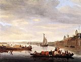 Salomon van Ruysdael The Crossing at Nijmegen painting