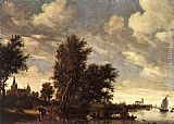 Salomon van Ruysdael The Ferry Boat painting