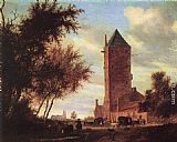 Salomon van Ruysdael Tower at the Road painting