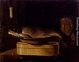 Sebastien Stoskopff Still Life Of A Carp In A Bowl Placed On A Wooden Box, All Resting On A Table painting