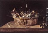 Sebastien Stoskopff Still-Life of Glasses in a Basket painting