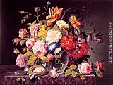 Severin Roesen Still Life with Flowers painting