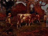 Sir Alfred James Munnings On The Way Home, The Cow Herd painting