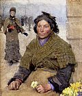 Sir George Clausen Flora, The Gypsy Flower Seller painting